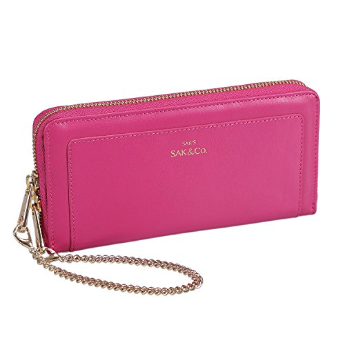 Womens Genuine Leather Zip Around Wristlet