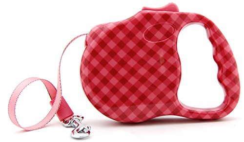 - bellus Retractable Dog Leash, Print Great For Small Dogs, Up To 30 lbs, Red/Pink