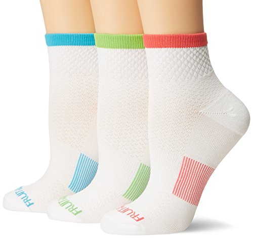 (Fruit of the Loom Women's Standard 3 Pack Breathable Ankle Sock, White Color Heel/Toe, Shoe Size 4-10/Sock Size 9-11)