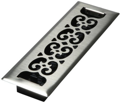 Decor Grates SPH210-NKL 2-Inch by 10-Inch Scroll Floor Register, Nickel ()