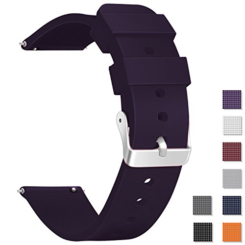 (Vetoo Watch Band, Quick Release Silicone Watch Bands, Choose Color and Width 18mm, 20mm, 22mm, Rubber Replacement Band for Traditional & Smart)