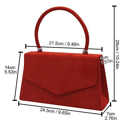 Women Ladies Girls Red Clutch Wocharm Suede Evening Leather Bags Handheld Faux Handbags I7n0Hqaw