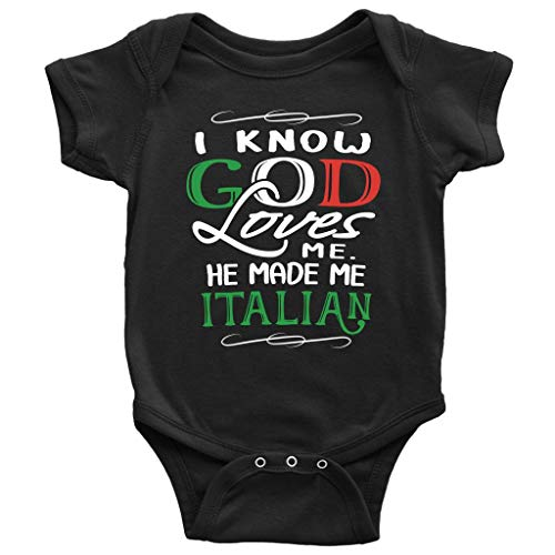 P.S. I Love Italy God Made Me Italian Cute Baby Bodysuit - Clothes for Infant Boys and Girls Black ()