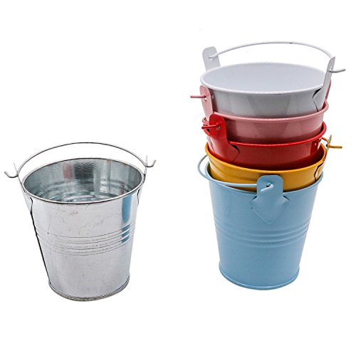Rugjut 6 Pack Mini Metal Bucket Great Buckets for Planters or Unique Goody Baskets -