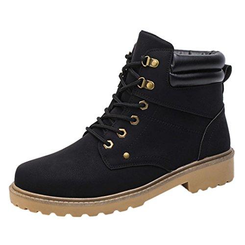 Fheaven Men Low Ankle Trim Flat Ankle Winter Autumn Boots Casual Lace up Martin Shoes (US:9.5, - Designers List Mens