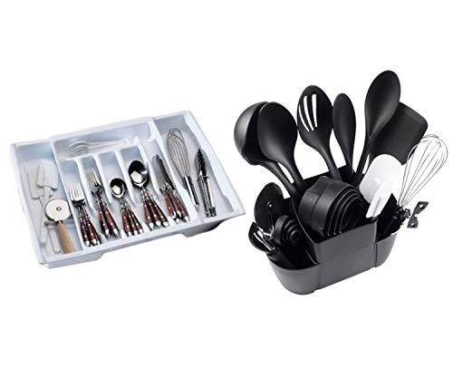 (Rubbermaid Adjustable Cutlery Tray, White Bundle with Mainstays 21-Piece Kitchen Utensils Set)