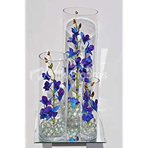 Silk Blooms Ltd Artificial Galaxy Blue Singapore Orchid and Clear Marble Flower Display w/Cylinder Vases 39