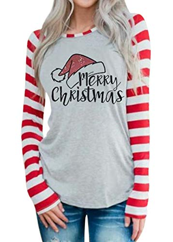 DUTUT Merry Christmas Baseball T-Shirt Womens Cute Santas Hat O-Neck Long Sleeve Striped Splicing Tops Tees Size XL (Grey)