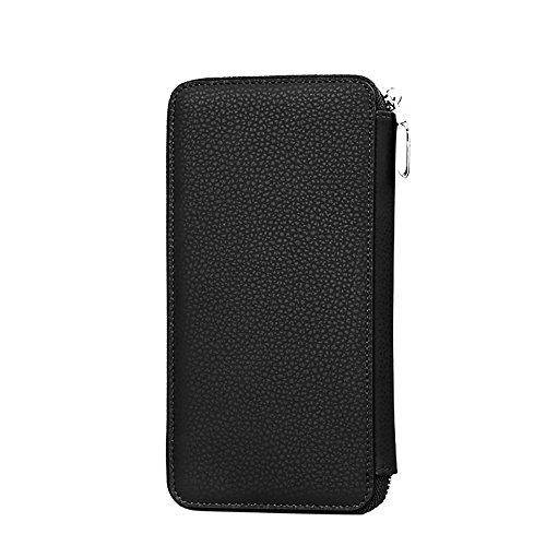 De Boîtier En Long Étui Main Grand Amovible Iphone Capacité Padieoeportefeuille Samsung Véritable Universel Pour Noir Cuir Fait Hommes Bn6z8wq