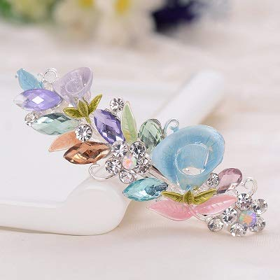 Fashion Exquisite Crystal Flower Hairpin Enamel Barrettes Girls Hair Accessories Headwear Jewelry For Women Girls Multicolor