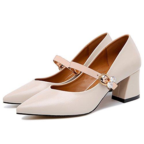KPHY Retro Mary - Jane - Schuhe Weiblich Dick Einzelne Frühling Einzelne Dick Schnalle Einzelne Schuhe Spitze Flachen Mund 6 Cm Hochhackigen Schuhe. e28ab4