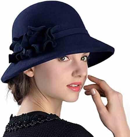 ac153b41636 FADVES Women Dress Flower Wool Warm Vintage 100% Wool Bowler Cap Floppy Hat