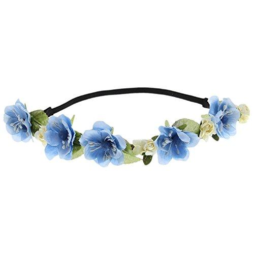 Floral Fall Cute Stretch Flower Crown Party Headband Wedding Hair Wreath F-003 Blue