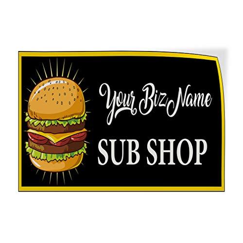 Business Name Sub Shop Hamburger Custom Door Decals Vinyl Stickers Sub Shop Black 14X10Inches