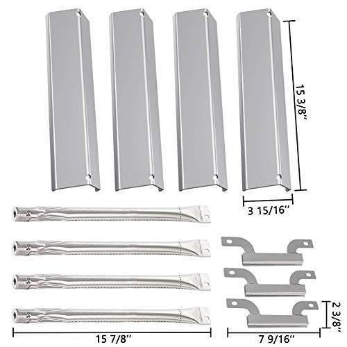 (SHINESTAR Grill Replacement Parts for Brinkmann 4 Burner Grill 810-8300-W, 810-8410-S, 810-9415-W and More, Stainless Steel Heat Shield Plate Tent & Crossover Carryover Burner & Straight Burner Tube)