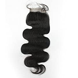 Forawme Brazilian Hair 1B/613 Ombre Blonde Pre Plucked Lace Closure Bleached Knots 8 Inch 4X4 Inch Body Wave Top Closure…