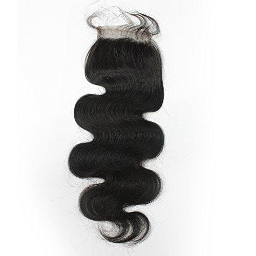 Forawme Brazilian Hair Free Part Body Wave Top Closure 16 Inch Virgin Human Hair Lace Closure 130% 1B Black Soft Remy Hair Pieces