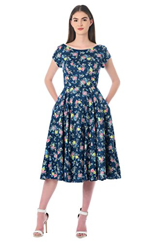eShakti Women's Floral Print Cotton Sateen Dress 5X-34W Tall Navy (Floral Sateen Skirt)