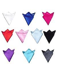 TopTie Wholesale Mens Solid Color Pocket Squares Wedding Handkerchiefs, 10 Pcs-set1