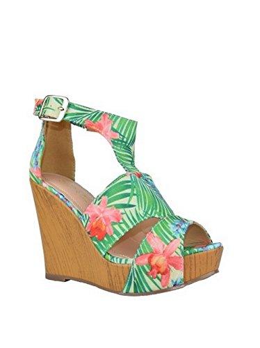 Chase & Chloe Floral Wedge Sandal (Chloe Leather Platform Pumps)
