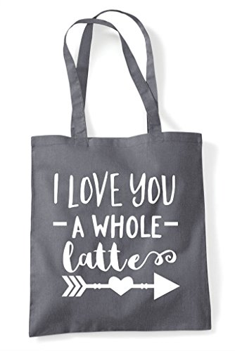 A You Whole Love I Shopper Tote Latte Dark Coffee Statement Bag Grey q7gAWwZaW