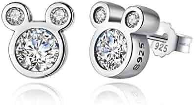 BAMOER 925 Sterling Silver Dazzling Mouse Stud Earrings CZ