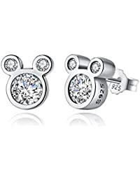 925 Sterling Silver Dazzling Mouse Stud Earrings CZ