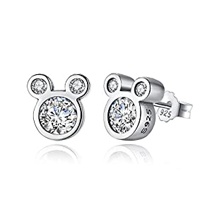 BAMOER Mouse Stud Earrings Sterling Silver Birthstone Earrings Stud for Women Girl Birthday Gift