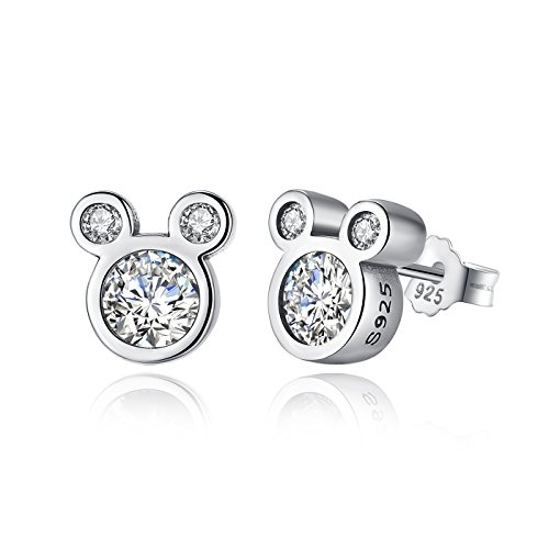 BAMOER Mouse Stud Earrings Sterling Silver Birthstone Earrings Stud for Women Birthday Gift -