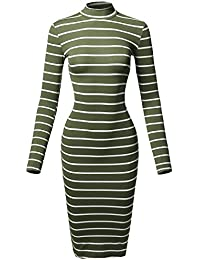 Women's Casual Striped Long Sleeve Mock Neck Midi Dress
