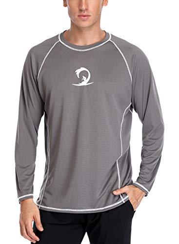Sociala Mens Long Sleeve Rashguard Swim Tee Loose Fit Rash Guard Top Grey L (Swim Shirts Tee Adult)
