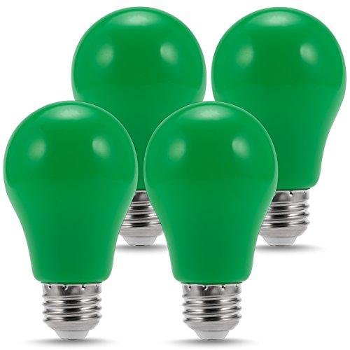 LOHAS LED Green Bulb Lights, A19 Shape, E26 Medium Base, 3W, Colored Bulbs for Decoration(4 Pack)