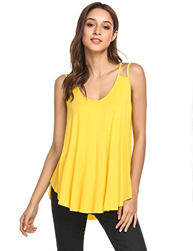 Wildtrest Women's Loose Casual Pleated Flowy Tank Top Yellow XL (Spaghetti Top Shirt)