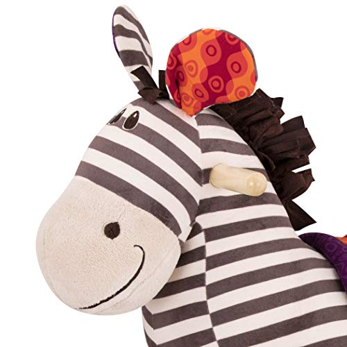 B toys – Kazoo Wooden Rocking Zebra – Rodeo Rocker – BPA Free Plush Ride On Zebra Rocking Horse for Toddlers and Babies 18m+ by B. toys by Battat (Image #2)