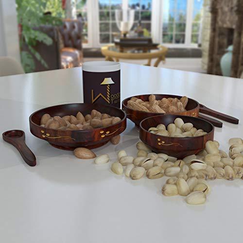 Onlineshoppee Wooden Bowl Set  amp; Free 3 Tea Spoons  Brown