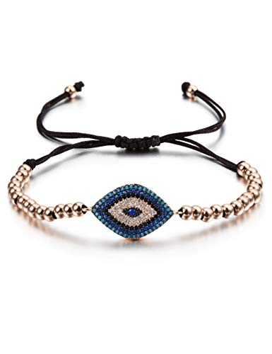 CIUNOFOR Evil Eye Charm Bracelet Gold Rose Gold Plated Stainless Steel Bead Italian Style for Women Girls ()