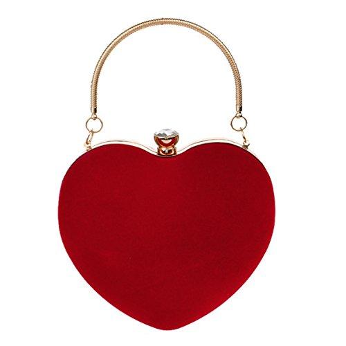 Rebecca Women Girls Heart Shape Handbag Evening Party Tote Purse (Red)