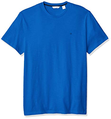 Calvin Klein Men's Short Sleeve Crew Neck T-Shirt, Island Blue slub, X-Large