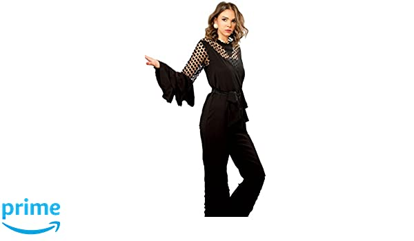 b3549491ad23 Amazon.com  The Gallery Women s Crepe and Polka Dot Tulle Jumpsuit Black   Clothing
