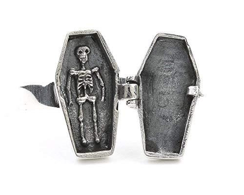 (Coffin Poison Ring, Sterling Silver Poison Ring, Skeleton, Locket Ring, Cross Ring, Skull)