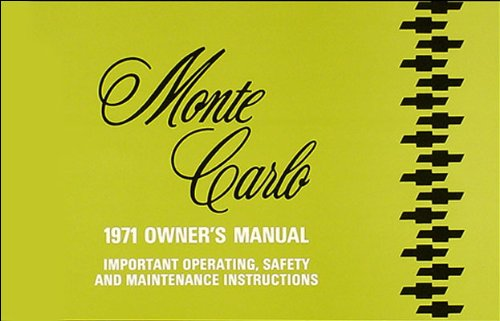 1971 Monte Carlo Owners Manual (with Decal)