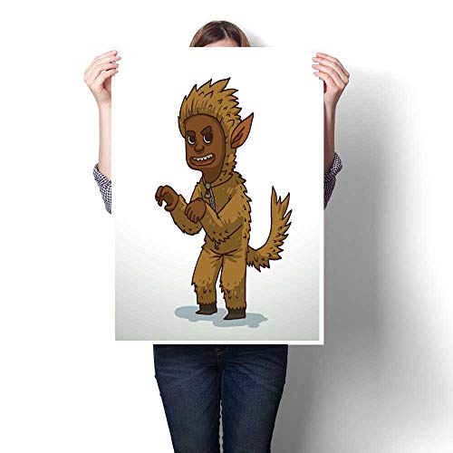 bybyhome Canvas Prints Wall Art Boy in Werewolf Costume for Halloween Decorative Fine Art Canvas Print Poster K 16