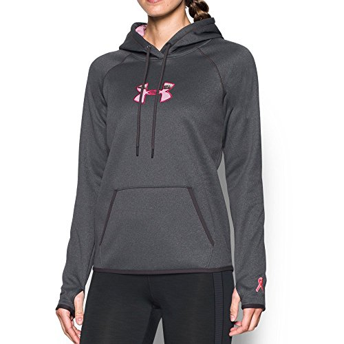 Under Armour Women's Icon Caliber Hoodie, Carbon Heather/Realtree Ap Pink, Medium