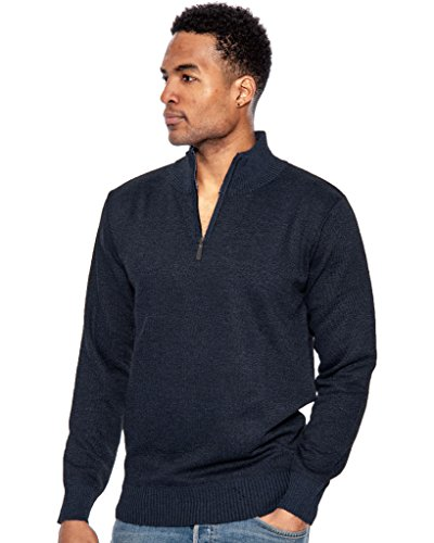 (True Rock Men's Super 1/2 Zip Mock Sweater-Melange Blue-Small)