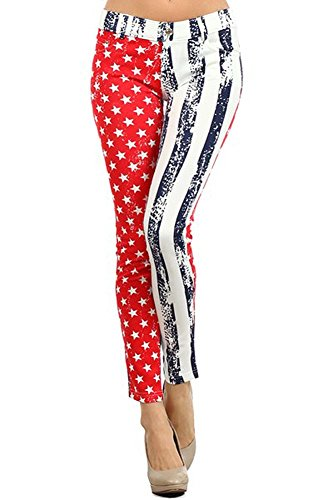 Distressed American Flag Rockstar Design Leggings Pants