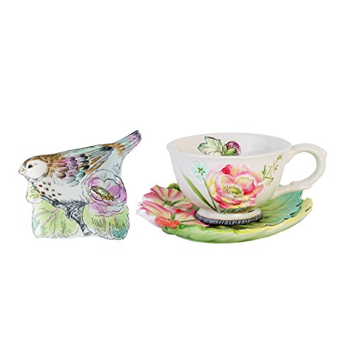 Fitz and Floyd 21-065 English Garden Ceramic Tea Cup Saucer and Tea Rest, Set of 3, Baby Blue