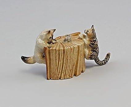 figura de porcelana miniatura Jugando Gatos con Ratón en ...