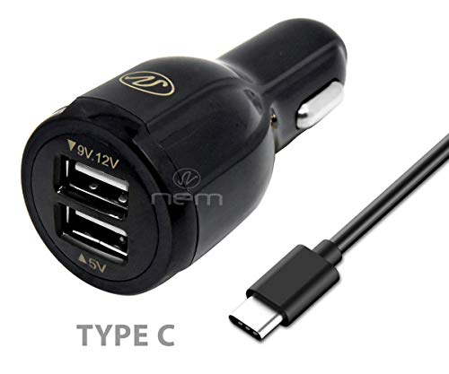 Quick Car Charger Kit for ZTE Grand X 3 Cell Phones - Dual USB 4.3 Amp Car Charger with 3 Feet Type C USB Cable - Black ()