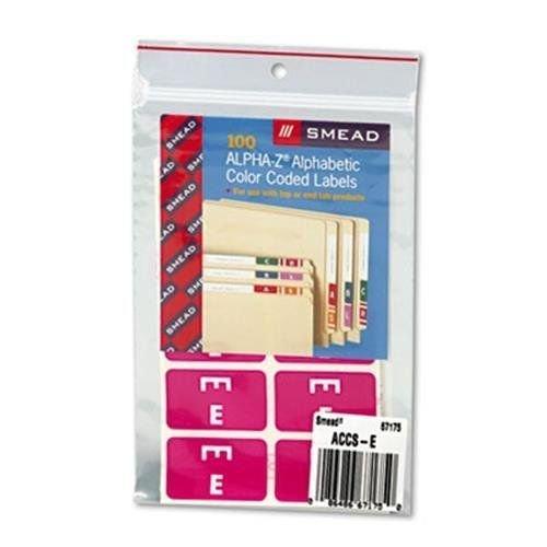 Smead Alpha-Z Color-Coded Second Letter Labels, Letter E, Purple, 100/Pack