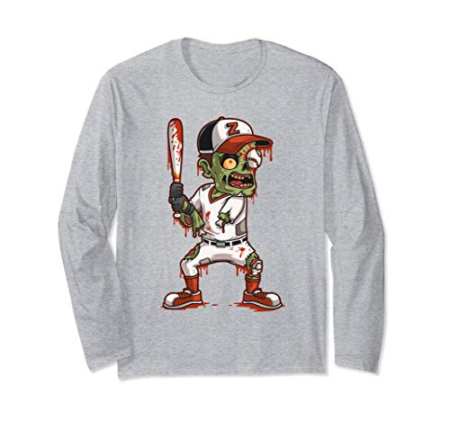 Zombie Baseball Batter Halloween Trick or Treating Gift Long Sleeve T-Shirt